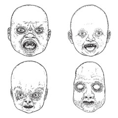 Set of little demon faces with teeth. Hand drawing of baby devil. Halloween props. Vector.