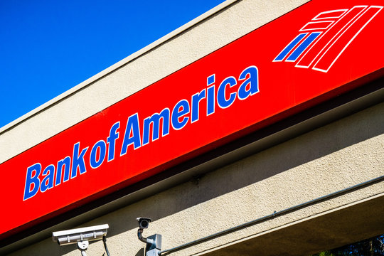 October 15, 2018 Sunnyvale / CA / USA - Bank of America logo above the entrance to one of the bank's branches, San Francisco bay area