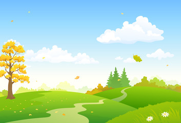 Wall Murals Blue sky Vector cartoon illustration of a colorful autumn scenery