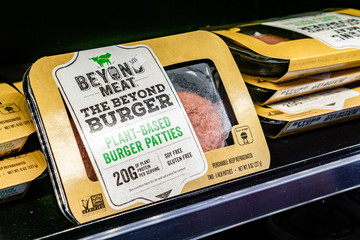 May 17, 2019 Cupertino / CA / USA - Beyond Meat Burger packages available for purchase in a store in San Francisco bay area