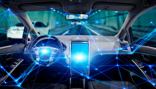 Interior of autonomous car. Driverless vehicle. Self driving. UGV. Advanced driver assistant system.