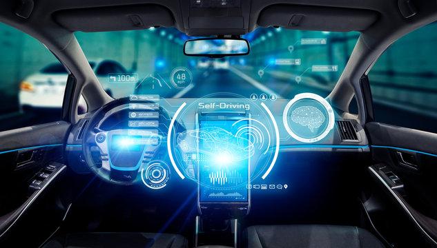 Interior of an autonomous car. Driverless vehicle. Futuristic transportation.
