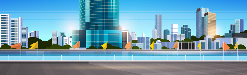 city skyline modern skyscrapers fence and river against cityscape background flat horizontal banner Fototapete