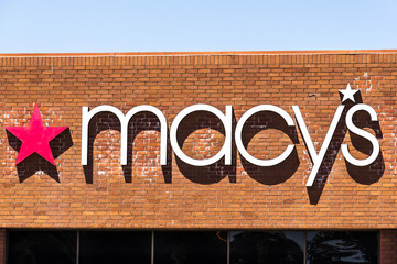 August 9, 2019 San Jose / CA / USA - Close up of Macy's logo displayed above the entrance to one of their stores in South San Francisco bay area