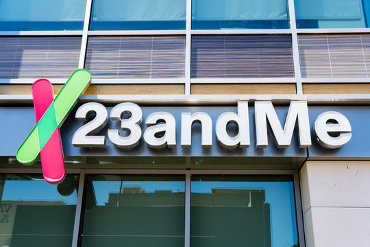 August 8, 2019 Mountain View / CA / USA - 23andme headquarters in Silicon Valley; Based on a saliva sample, 23andMe provides reports about the customer's health, traits and ancestry