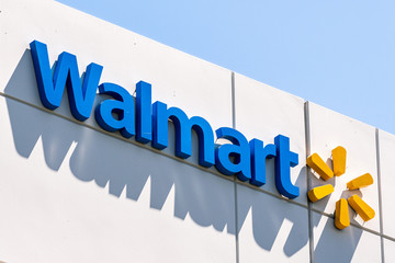 August 12, 2019 Sunnyvale / CA / USA - Close up of Walmart sign displayed at their Walmart Labs offices; WalmartLabs is a subsidiary of Walmart focusing on eCommerce and other technology related areas