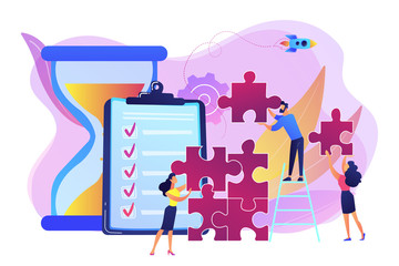 Project management. Business process and planning, workflow organization. Colleagues working together, teamwork. Project delivery concept. Bright vibrant violet vector isolated illustration