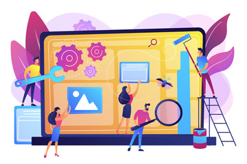 Fototapeta Technical support, programming and coding. Website maintenance, website maintenance services, update and keep your site easy concept. Bright vibrant violet vector isolated illustration obraz