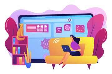 Home office, remote work. Distance learning. Copywriting job. Freelance work, online self-employment, best freelancers here concept. Bright vibrant violet vector isolated illustration