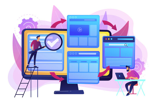 Digital technology. Search engine optimization. Website constructor. Microsite development, small web page, microsite web design concept. Bright vibrant violet vector isolated illustration