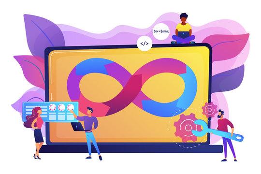 Programmers working on project. Website development methodology. Technical support. DevOps team, software development team, DevOps workflow concept. Bright vibrant violet vector isolated illustration