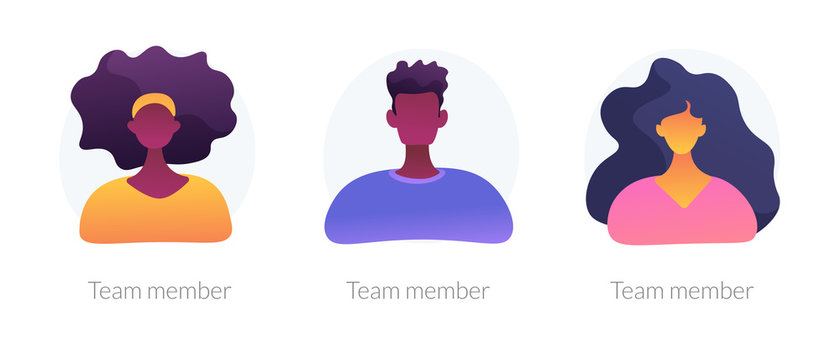 User personal profile faceless characters set. Dark skin employees, multicultural corporate workers portraits. Team member, avatar metaphors. Vector isolated concept metaphor illustrations