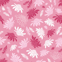 Vector pink seamless pattern with tropical torch ginger flowers. Suitable for textile, gift wrap and wallpaper.