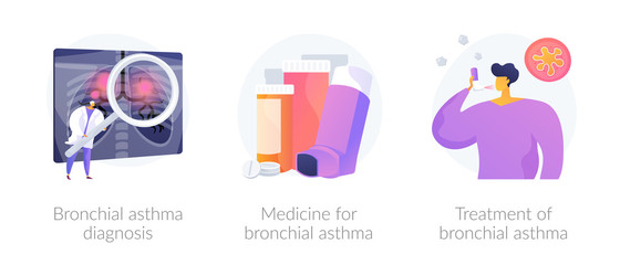 Respiratory system disease. Breathing problems. Airway disease. Cough treatment. Bronchial asthma diagnosis, medicine and treatment metaphors. Vector isolated concept metaphor illustrations