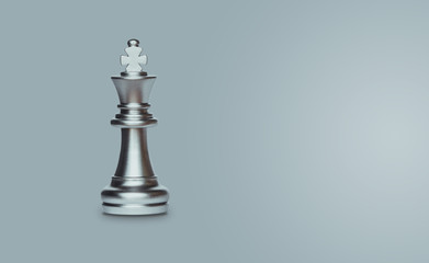 Chess king isolated on gray background