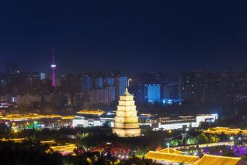 Fotobehang - big wild goose pagoda at night