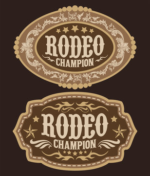 Rodeo Champion Cowboy belt buckle vector design