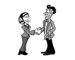 Handshake Asian woman and Latino man black and white