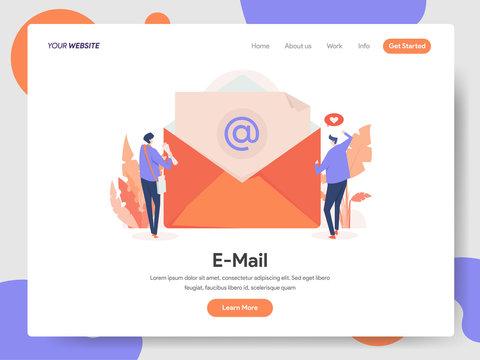 Landing page template of E-mail Illustration Concept. Modern design concept of web page design for website and mobile website.Vector illustration EPS 10