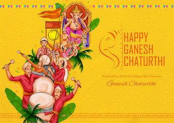 Wall Mural - illustration of Indian people celebrating Lord Ganpati background for Ganesh Chaturthi festival of India