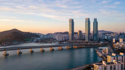 Aerial view of Gwangan Bridge in Busan City,South Korea