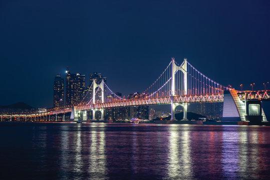Gwangan Bridge at Night in Busan City,South Korea.