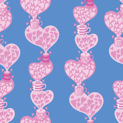 seamless pattern Tea and hearts