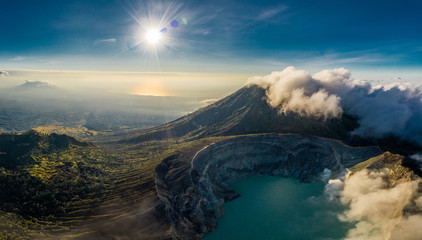 Canvas Prints Night blue Aerial view of beautiful Ijen volcano with acid lake and sulfur gas going from crater, Indonesia
