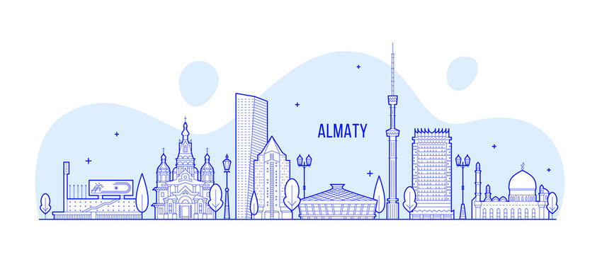 Almaty skyline Kazakhstan linear art city vector