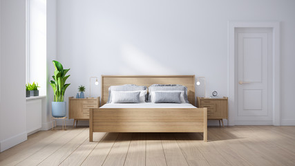 Modern scandinavian  interior of Bedroom ,wood bed and bedside table on white wall and wood floor ,3d render Wall mural