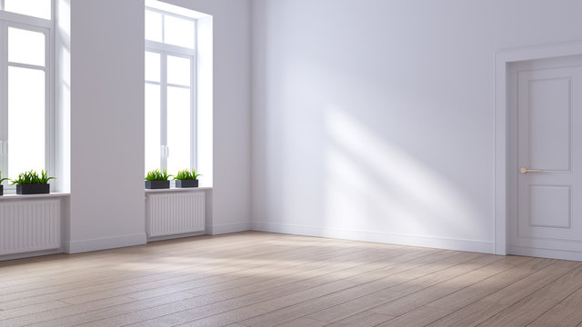 Empty room ,modern scandinavian   interior design, white wall and wood floor ,3d render
