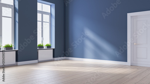 Blue Wall 3d Rendering Mural, Grey Laminate Flooring With Blue Walls