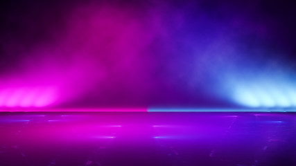Fototapeta Empty  purple  neon  light  with  smoke ,abstract  background,ultraviolet  concept,3d render