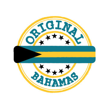 Vector Stamp of Original logo with text Bahamas and Tying in the middle with nation Flag.
