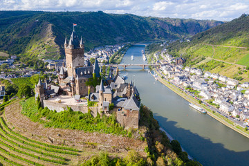 Cochem Imperial Castle, Reichsburg Cochem, reconstructed in the Gothic Revival style protects historic Cochem town on left bank of Moselle river and Cond, Cochem-Zell, Rhineland-Palatinate, Germany