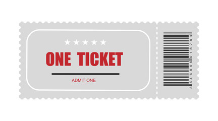 one ticket with bar code. template ticket vector icon