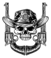 Grim reaper cowboy skull in western hat with star sheriff bagde drawn in a vintage retro woodcut etched or engraved style with crossed guns