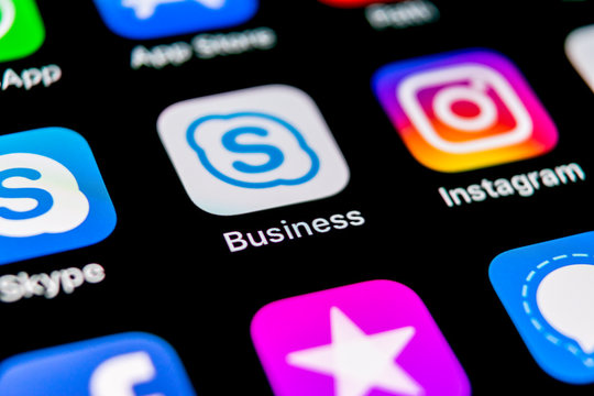 Sankt-Petersburg, Russia, September 30, 2018: Skype business application icon on Apple iPhone X smartphone screen. Skype business messenger app icon. Social media icon. Social network. Skype icon