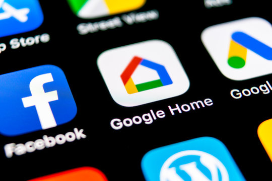 Sankt-Petersburg, Russia, September 30, 2018: Google Home application icon on Apple iPhone X smartphone screen close-up. Google home app icon. Social network. Social media icon