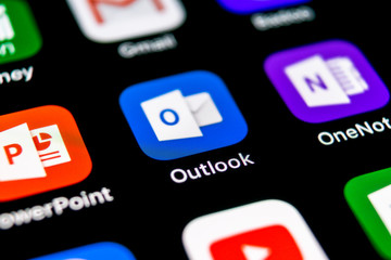 Sankt-Petersburg, Russia, September 30, 2018: Microsoft Outlook office application icon on Apple iPhone X screen close-up. Microsoft outlook app icon. Microsoft OutLook application.