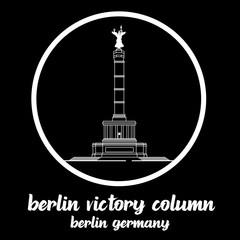 Circle Icon Berlin Victory Column. sign symbol. vector illustration