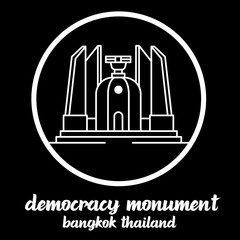 Circle Icon Democracy Monument thailand. sign symbol. vector illustration
