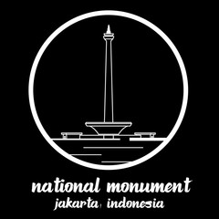 Circle Icon National Monument indonecia. sign symbol. vector illustration