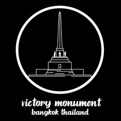 Circle Icon Victory Monument thailand. sign symbol. vector illustration