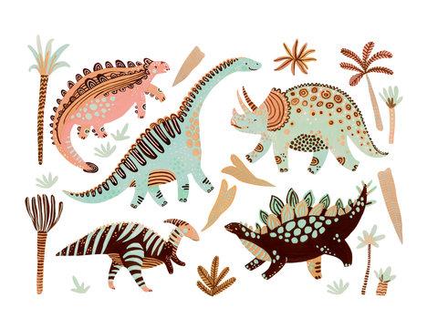 Cute cartoon dinosaurs poster in scandinavian style