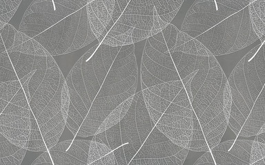 Gray background with white leaf texture