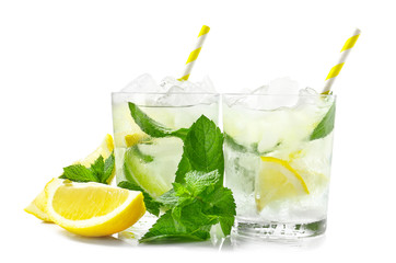 Printed roller blinds Alcohol Glasses of fresh mojito on white background