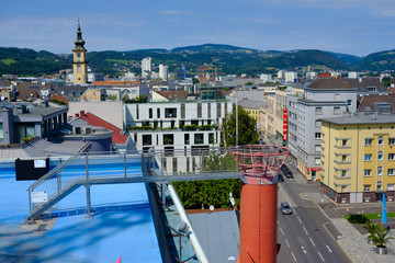 viewfrom art exhibition sinnesrausch to the old town of linz, austria
