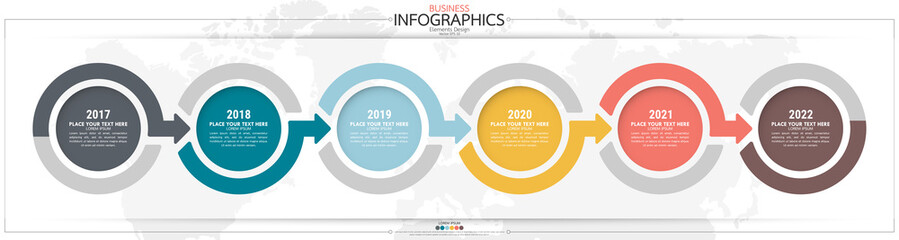 Obraz Infographic business horizontal timeline steps process chart template. Vector modern banner used for presentation and workflow layout diagram, web design. Abstract elements of graph options. - fototapety do salonu