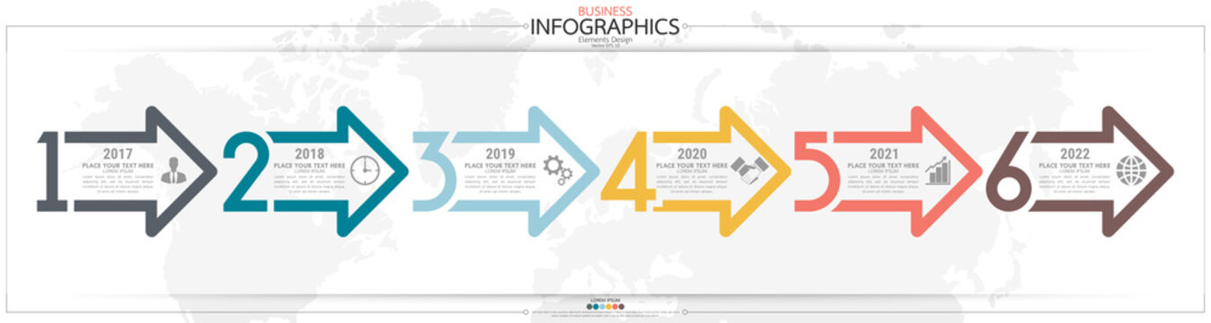 Infographic business horizontal timeline steps process chart template. Vector modern banner used for presentation and workflow layout diagram, web design. Abstract elements of graph options.